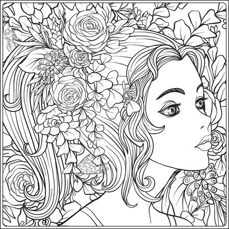 Een jong mooi meisje met een krans van bloemen op haar hoofd. Stockfoto - 83256182