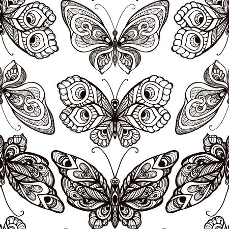 Butterflies with decor pattern. Seamless pattern, background. Gr 일러스트