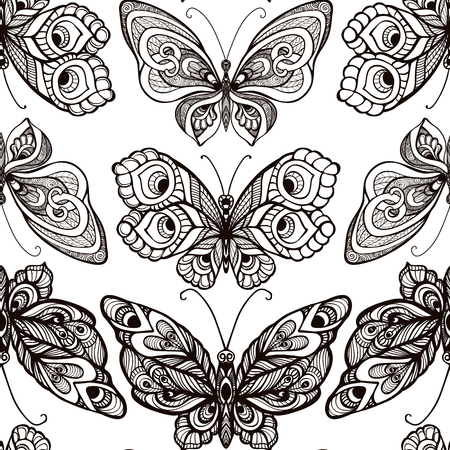 Butterflies with decor pattern. Seamless pattern, background. Gr Çizim