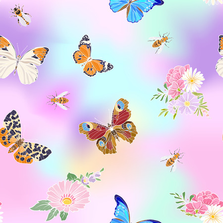 Floral pattern with butterflies and bees.