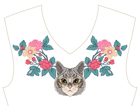 ネックライン、t シャツ、ブラウス、シャツの襟の刺繍。Patt