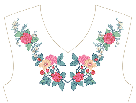 Embroidery for neckline, collar for T-shirt, blouse, shirt. Patt