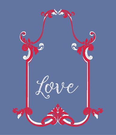 Broderie avec cadre vintage rouge et blanc Banque d'images - 83307790
