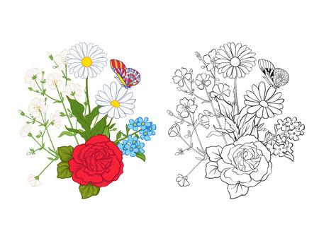 バラやデイジーの花束。伝統的なヨーロッパのパターン。