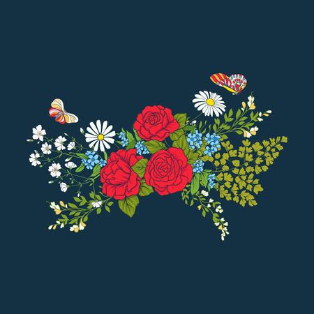 장미와 데이지와 꽃다발 일러스트