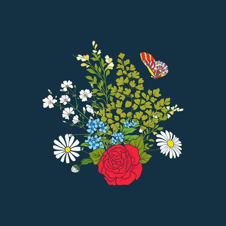バラやデイジー ブーケ  イラスト・ベクター素材