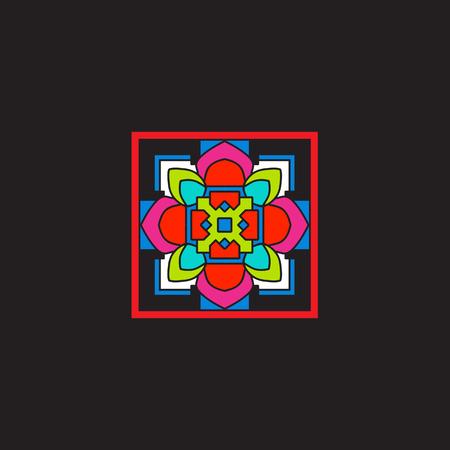 Tibet mandala on black background.