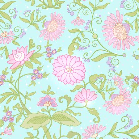 꽃 원활한 패턴, 빈티지 스타일 꽃과 배경 일러스트