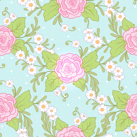 Floral seamless pattern, background with vintage style flowers
