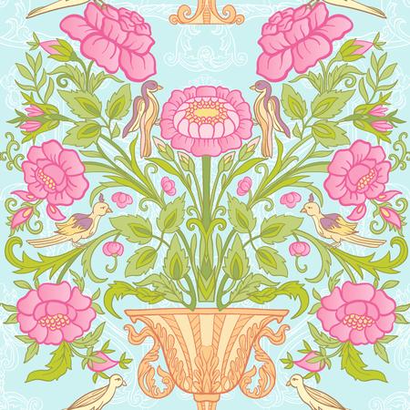 花のシームレスなパターン、ヴィンテージスタイルの花と背景