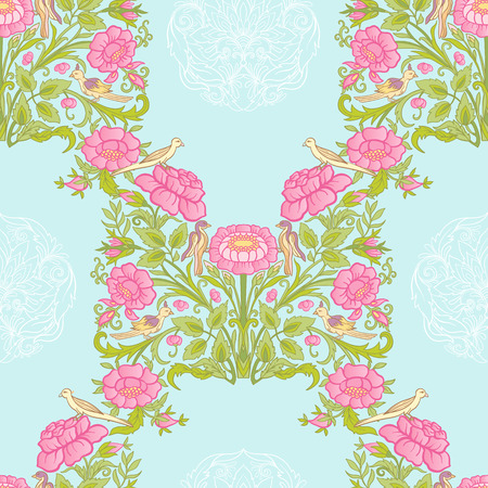 Floral seamless pattern, background with vintage style flowers a