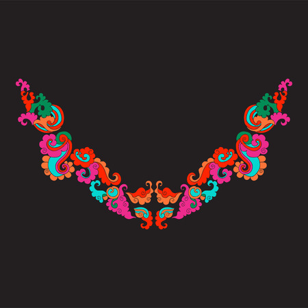 Neckline with vintage decorative elements in asian style on blac