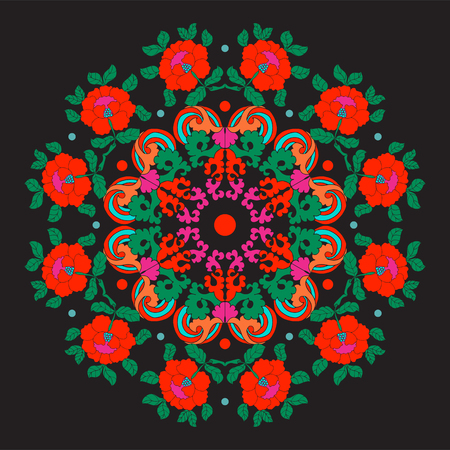 Vintage decorative elements in asian style on black background.