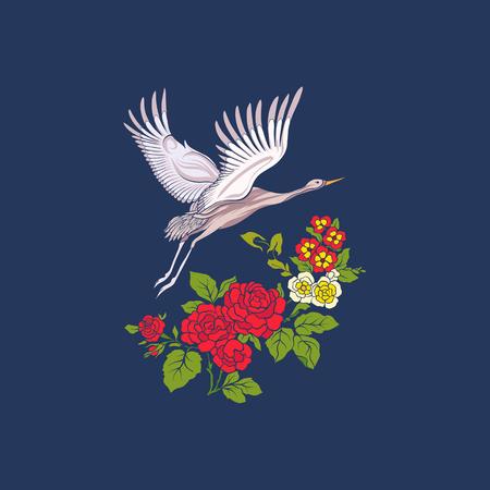 Bloemen en kraan op jeansachtergrond. Voorraad regel vector afb Stock Illustratie