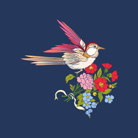 Bloemen en slikken op jeansachtergrond. Stock Illustratie