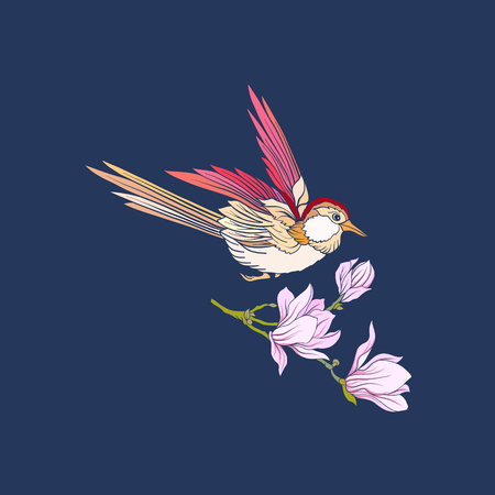 Flowers and swallow on jeans background.
