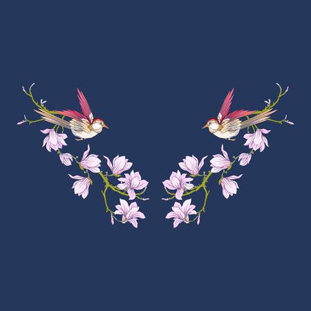 꽃과 neckline 및 검은 배경에 제비. 일러스트