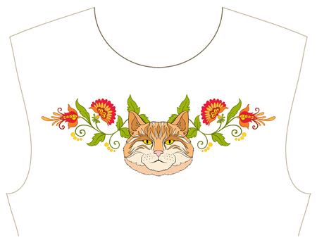 목줄 자수, 티셔츠, 블라우스, 셔츠 용 칼라. 꽃과 고양이의 패턴. 주식 벡터 일러스트 레이 션.