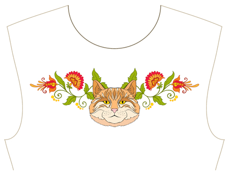 Embroidery for neckline, collar for T-shirt, blouse, shirt. Pattern of flowers and cats. Stock vector illustration. Illustration