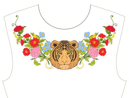 목줄 자수, 티셔츠, 블라우스, 셔츠 용 칼라. 꽃과 호랑이의 패턴입니다. 주식 벡터 일러스트 레이 션. 일러스트