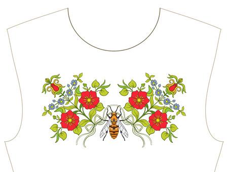 목줄 자수, 티셔츠, 블라우스, 셔츠 용 칼라. 꽃과 꿀벌의 패턴입니다. 주식 벡터 일러스트 레이 션. 검은 색 바탕에. 일러스트