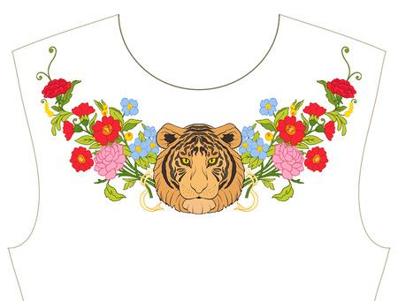ネックラインのための刺繍、T シャツの襟、ブラウス、シャツ。花と虎の模様。ストックベクトルイラスト。  イラスト・ベクター素材