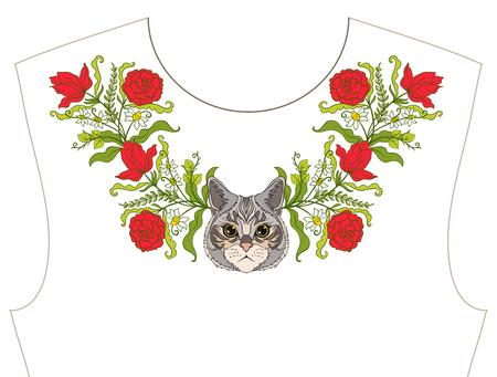 ネックライン、t シャツ、ブラウス、シャツの襟の刺繍。花と猫のパターン。株式ベクトル イラスト。
