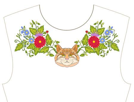 ネックラインのための刺繍、T シャツの襟、ブラウス、シャツ。花や猫のパターン。ストックベクトルイラスト。