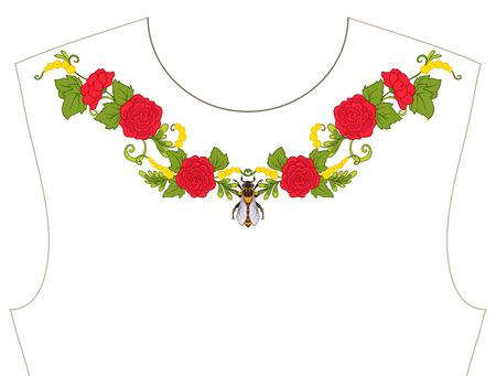 ネックラインのための刺繍、T シャツの襟、ブラウス、シャツ。花や蜂のパターン。ストックベクトルイラスト。黒の背景に。