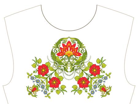 목줄 자수, 티셔츠, 블라우스, 셔츠 용 칼라. 꽃의 패턴. 주식 벡터 일러스트 레이 션.