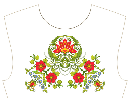 Embroidery for neckline, collar for T-shirt, blouse, shirt. Pattern of flowers. Stock vector illustration. Illustration