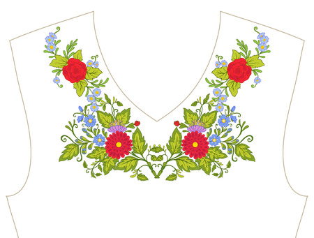 ネックライン、t シャツ、ブラウス、シャツ、花のパターンの襟の刺繍。