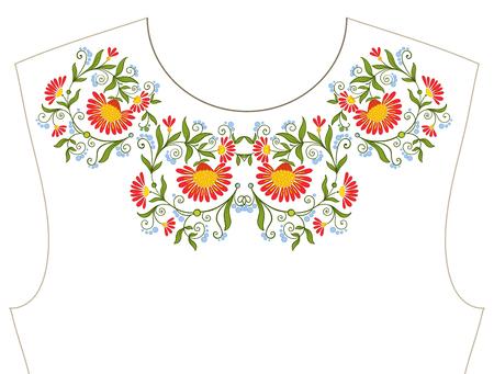 ネックラインのための刺繍、T シャツの襟、ブラウス、シャツ。花の柄。ストックベクトルイラスト。