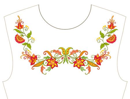 Embroidery for neckline, collar for T-shirt, blouse, shirt. Pattern of flowers. Stock vector illustration. Illustration