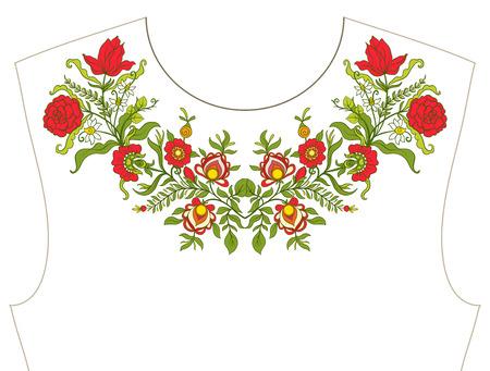목선 용 자수, 티셔츠 용 칼라, 블라우스, 셔츠, 꽃 무늬.