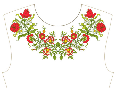 Embroidery for neckline, collar for T-shirt, blouse, shirt, Pattern of flowers. Illustration