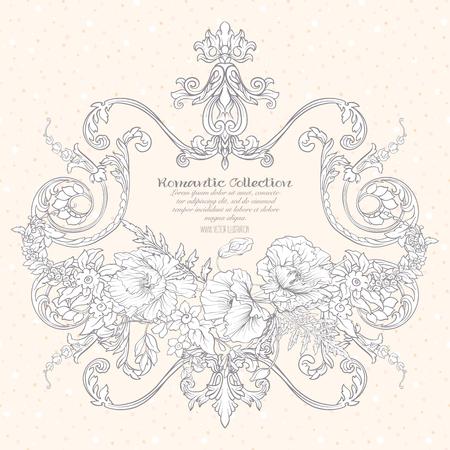 여름 꽃 : 양 귀 비, 수 선화, 말미잘, 바이올렛, 텍스트에 대 한 빈티지 로코코 프레임 식물학 스타일. 인사말 카드 생일, 초대 또는 배너에 대 한 좋은.  일러스트