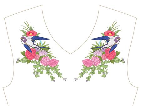 、ネックラインの刺繍 t シャツ、ブラウス、シャツ、花の模様の首輪し、鳥を飲み込みます。