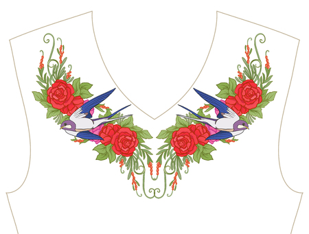 Embroidery for neckline, collar for T-shirt, blouse, shirt, Pattern of flowers and swallow bird. Illustration
