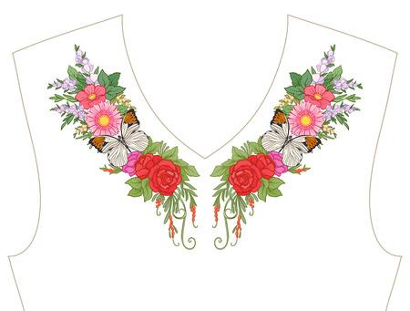 ネックラインのための刺繍、T シャツの襟、ブラウス、シャツ、花や蝶のパターン  イラスト・ベクター素材