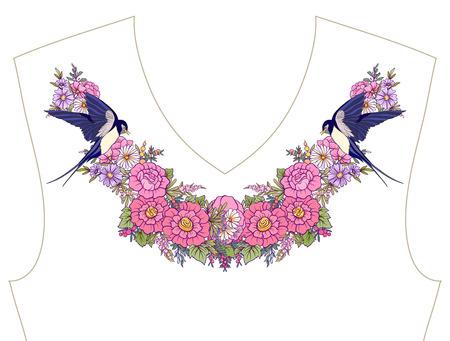 목선 용 자수, 티셔츠 용 칼라, 블라우스, 셔츠, 꽃과 나비의 패턴.