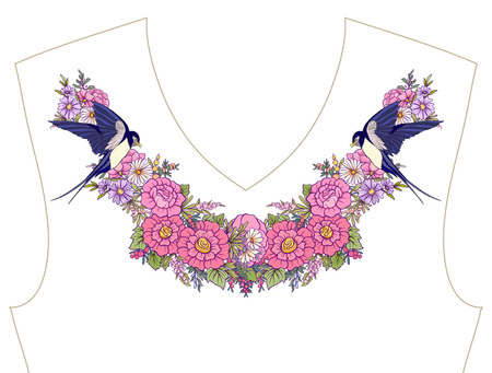 Embroidery for neckline, collar for T-shirt, blouse, shirt, Pattern of flowers and butterflies. Illustration