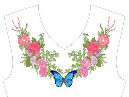 ネックラインのための刺繍、T シャツの襟、ブラウス、シャツ、花や蝶のパターン。