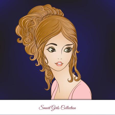 Une belle jeune fille. Portrait coloré sur fond sombre. Illustration vectorielle de stock ligne. Banque d'images - 85638784