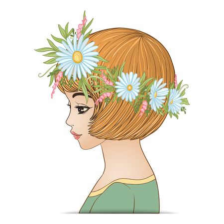 A young beautiful girl with a flower wreath on his head.  Colored portrait. Isolated on white background. Stock line vector illustration. Illustration