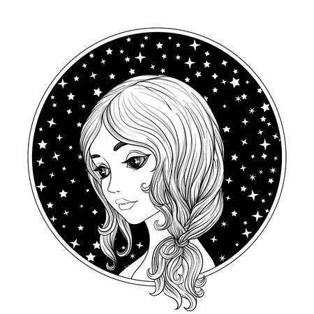 젊은 아름 다운 소녀. 공간 배경에 동그라미에서 흑백 초상화입니다. 주식 라인 벡터 일러스트 레이 션.