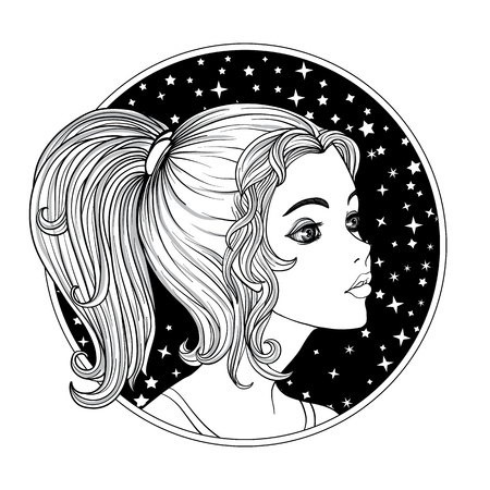 A young beautiful girl.  Monochrome portrait in a circle on a space background stock line vector illustration.