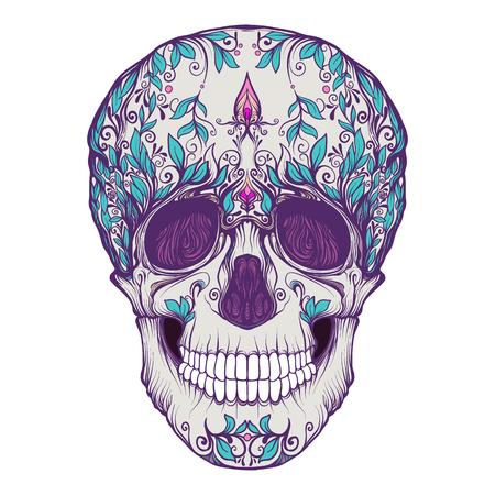 シュガースカル。死者の日の伝統的なシンボル。ストックラインベクトルイラスト。