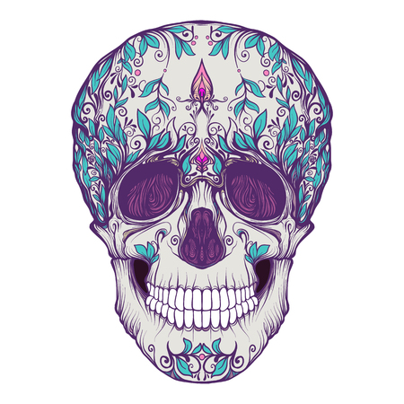 Sugar skull. The traditional symbol of the Day of the Dead. Stock line vector illustration. Illustration