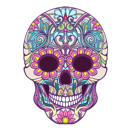Sugar skull. The traditional symbol of the Day of the Dead. Stock line vector illustration. Stok Fotoğraf - 85649575